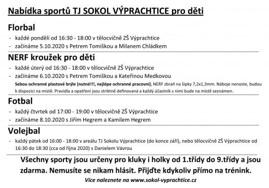 Obrázek: Nabídka sportů TJ Sokol Výprachtice - 2020-2021